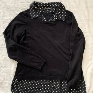 Black Sweater with Polka Dot Collar Size Large